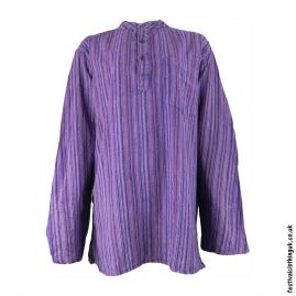 Striped-Collarless-Festival-Grandad-Shirt-Purple