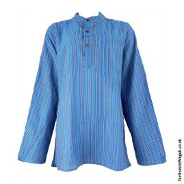 Striped-Collarless-Festival-Grandad-Shirt-Turquoise