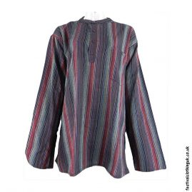 Striped-Collarless-Festival-Grandad-Shirt-Multicoloured