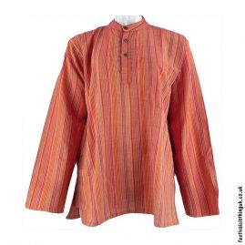Striped-Collarless-Festival-Grandad-Shirt-Orange