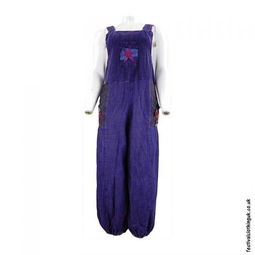 Festival-Dungarees-with-Flower-Design-Purple