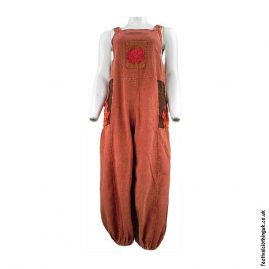 Festival-Dungarees-with-Flower-Design-Rust
