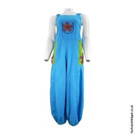 Festival-Dungarees-with-Flower-Design-Turquoise