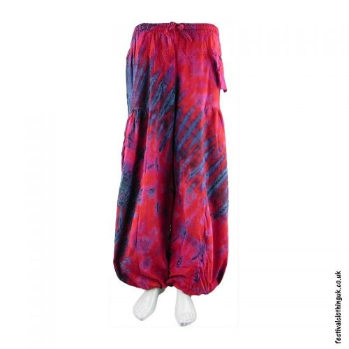 Multicoloured-Tie-Dye-Baggy-Cotton-Festival-Trousers
