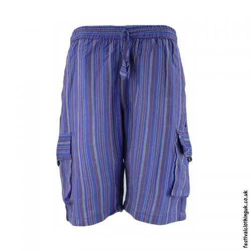 Blue-Striped-Cotton-Festival-Shorts