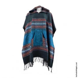 Festival-Hooded-Poncho-Blue
