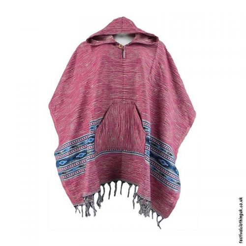 Festival-Hooded-Poncho-Pink
