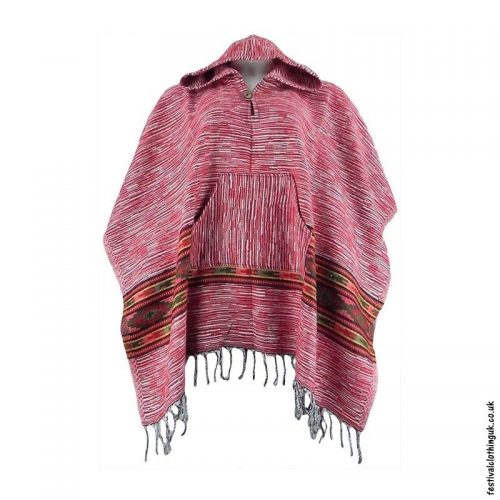 Festival-Hooded-Poncho-Red