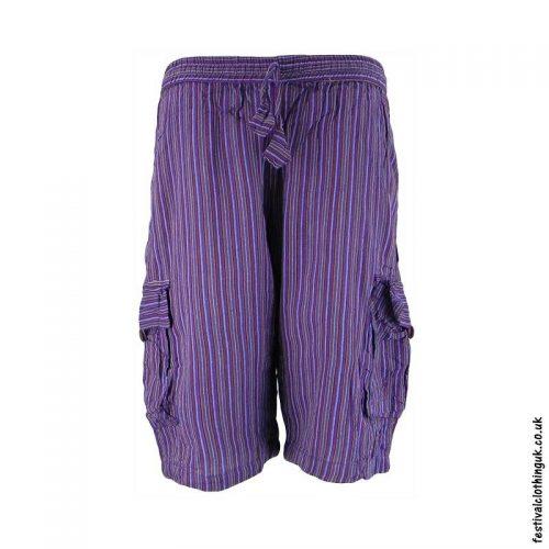 Purple-Striped-Cotton-Festival-Shorts