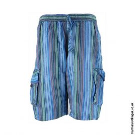 Turquoise-Striped-Cotton-Festival-Shorts
