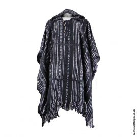 Black-White-Thick-Weave-Cotton-Hooded-Festival-Poncho