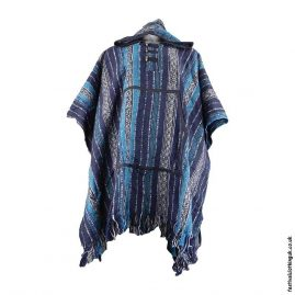 Blue-Thick-Weave-Cotton-Hooded-Festival-Poncho