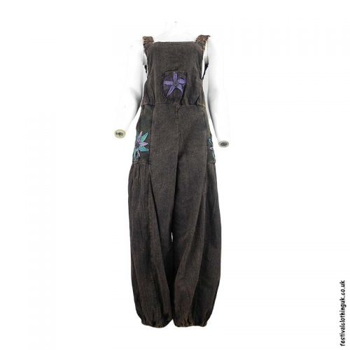 Festival-Dungarees-with-Flower-Design-Charcoal-Rust