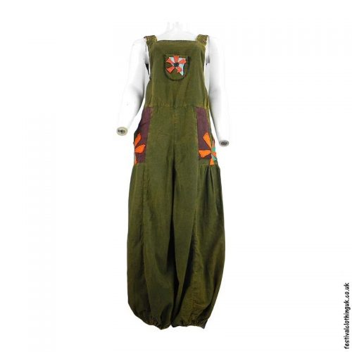 Festival-Dungarees-with-Flower-Design-Green