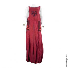 Festival-Dungarees-with-Flower-Design-Red