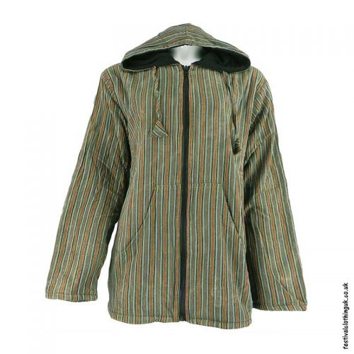 Green-Striped-Cotton-Hooded-Festival-Jacket