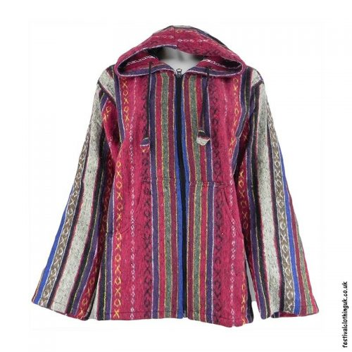 Pixie-Hooded-Thick-Weave-Festival-Jacket-Red