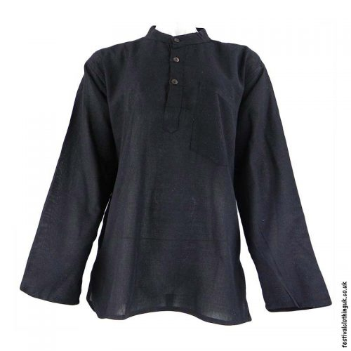 Plain-Festival-Collarless-Grandad-Shirt-Black