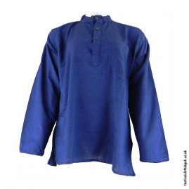 Plain-Festival-Collarless-Grandad-Shirt-Blue