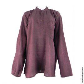 Plain-Festival-Collarless-Grandad-Shirt--Burgundy