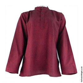 Plain-Festival-Collarless-Grandad-Shirt-Burgundy