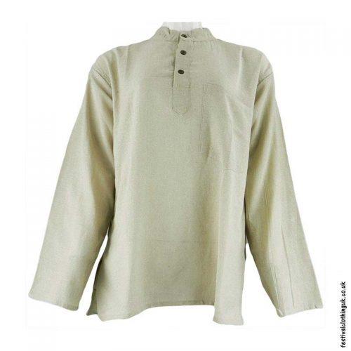 Plain-Festival-Collarless-Grandad-Shirt-Cream