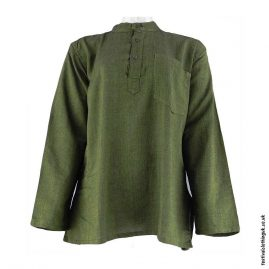 Plain-Festival-Collarless-Grandad-Shirt-Green