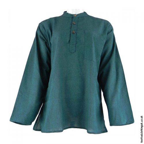 Plain-Festival-Collarless-Grandad-Shirt-Green