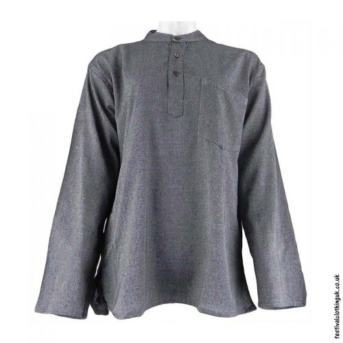 Plain-Festival-Collarless-Grandad-Shirt-Grey