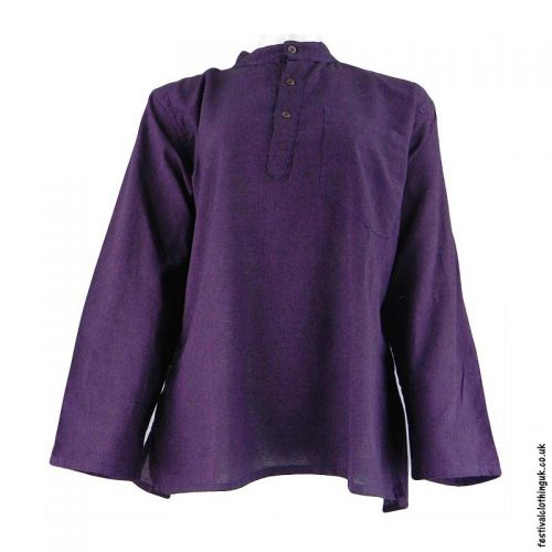 Plain-Festival-Collarless-Grandad-Shirt-Purple