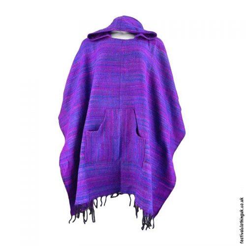 Purple-Soft-Acrylic-Hooded-Festival-Poncho