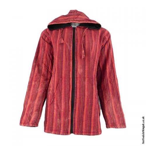 Red-Striped-Cotton-Hooded-Festival-Jacket
