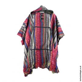 Red-Thick-Weave-Cotton-Hooded-Festival-Poncho