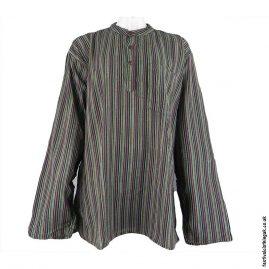 Striped-Collarless-Festival-Grandad-Shirt-Black-Mix