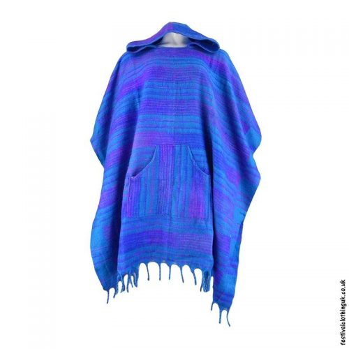Turquoise-Soft-Acrylic-Hooded-Festival-Poncho