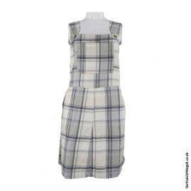 Cream-Short-Checkered-Cotton-Dungaree-Dress