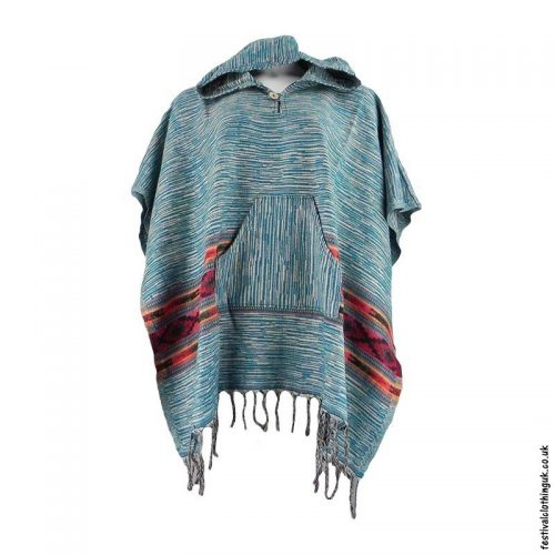 Festival-Hooded-Poncho-Teal