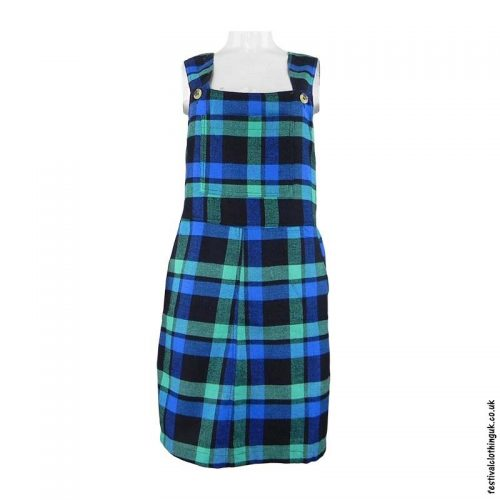 Green-Short-Checkered-Cotton-Dungaree-Dress