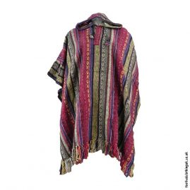 Hooded-Cotton-Festival-Poncho-Red