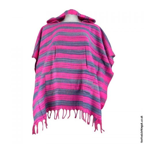 Pink-Acrylic-Striped-Festival-Poncho