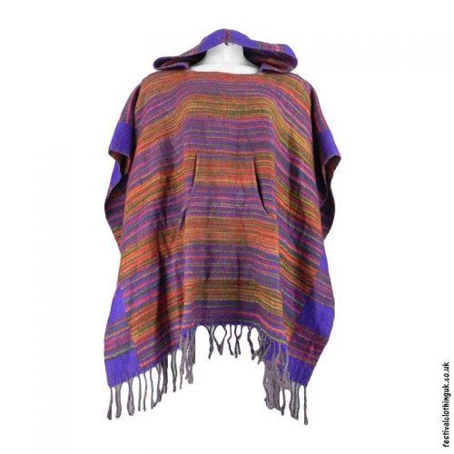 Purple-Acrylic-Striped-Festival-Poncho