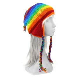 Rainbow Wool Over the Ear Festival Hat with Fleece Lining