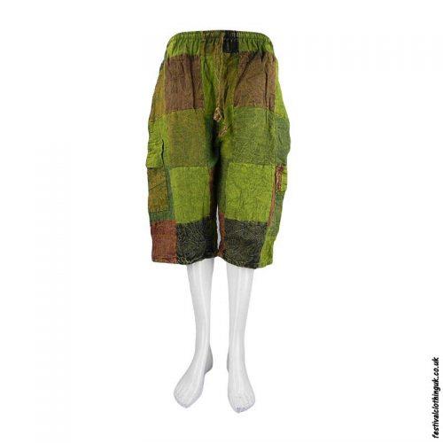 Long-Cotton-Patchwork-Festival-Shorts-Green