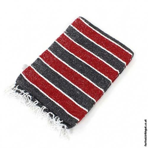 Mexican-Rug-Blanket-Throw-Red