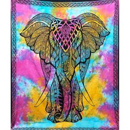 Tie Dye Multicoloured Elephant Throw
