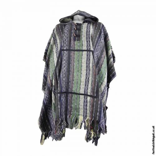 Brown-Thick-Weave-Cotton-Hooded-Festival-Poncho