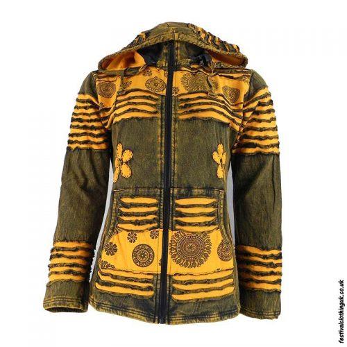 Stonewashed-Removable-Hood-Hooded-Jacket--Orange