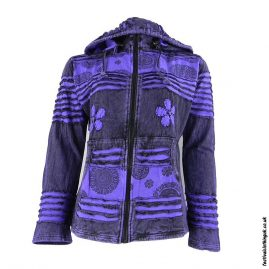 Stonewashed-Removable-Hood-Hooded-Jacket--Purple