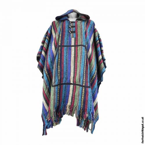 Turquoise-Thick-Weave-Cotton-Hooded-Festival-Poncho