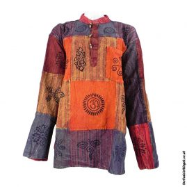 Patchwork-Collarless-Festival-Grandad-Shirt